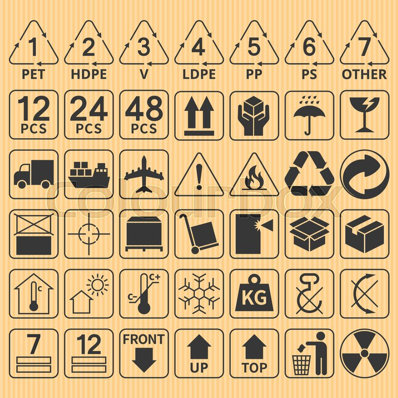 Set Of Packaging Symbol Collectionfragilehandle With Caredelivery