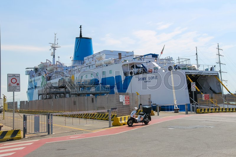 Editorial image of 'Piombino, Italy - June 30, 2015: Ferry boat Moby Love at berth in the seaport'