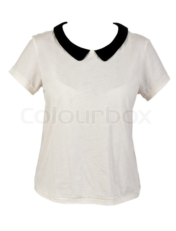 Women's shirt with black collar isolated on a white background ...