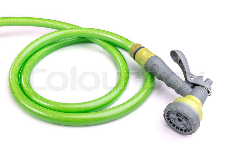 Stock image of 'Close up water hose and spray gun isolated on white background'