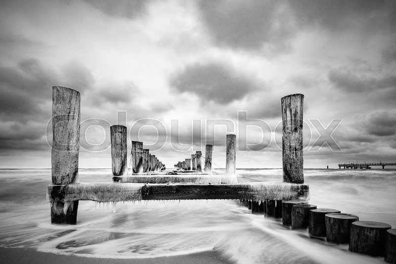 Stock image of 'Groyne on the Baltic Sea coast in Zingst, Germany.'