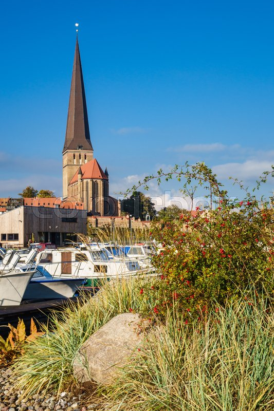 Stock image of 'View to a church in Rostock, Germany.'
