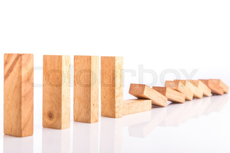 Stock image of 'Row of wooden block tower game children isolated on white background'
