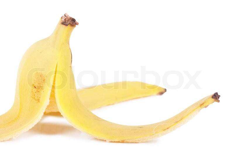 Banana peel. Concept for banana booby trap to make someone ...