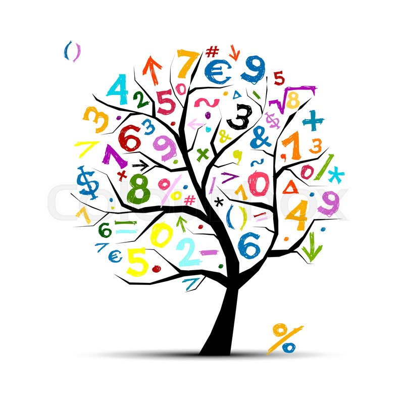 Art Tree With Math Symbols For Your Design Stock Vector Colourbox