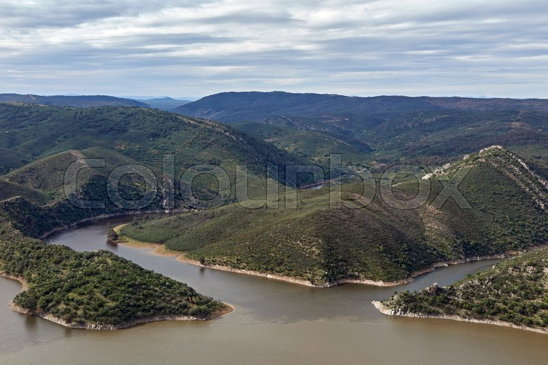 Stock image of 'Arial view of Monfrague National Park located in Spain'