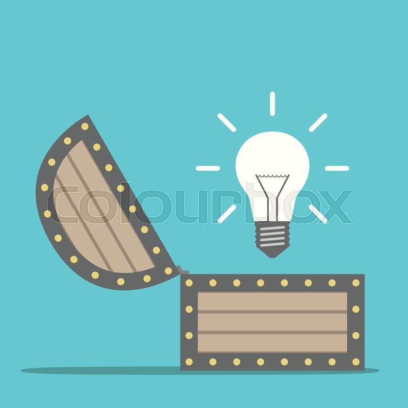 Bright glowing light bulb appearing from wooden treasure chest idea bright glowing light bulb appearing from wooden treasure chest idea insight and innovation concept flat design eps 8 vector illustration publicscrutiny Image collections