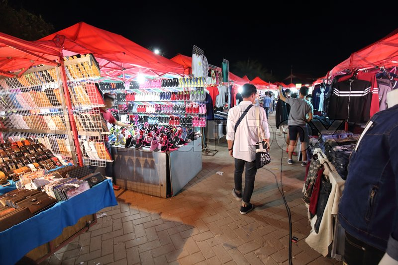 Editorial image of 'VIENTIANE, LAOS - SEPTEMBER  26, 2016: Night Market along Mekong river on September 26,2016. This Night Market is one of the famous market of Vientiane.'