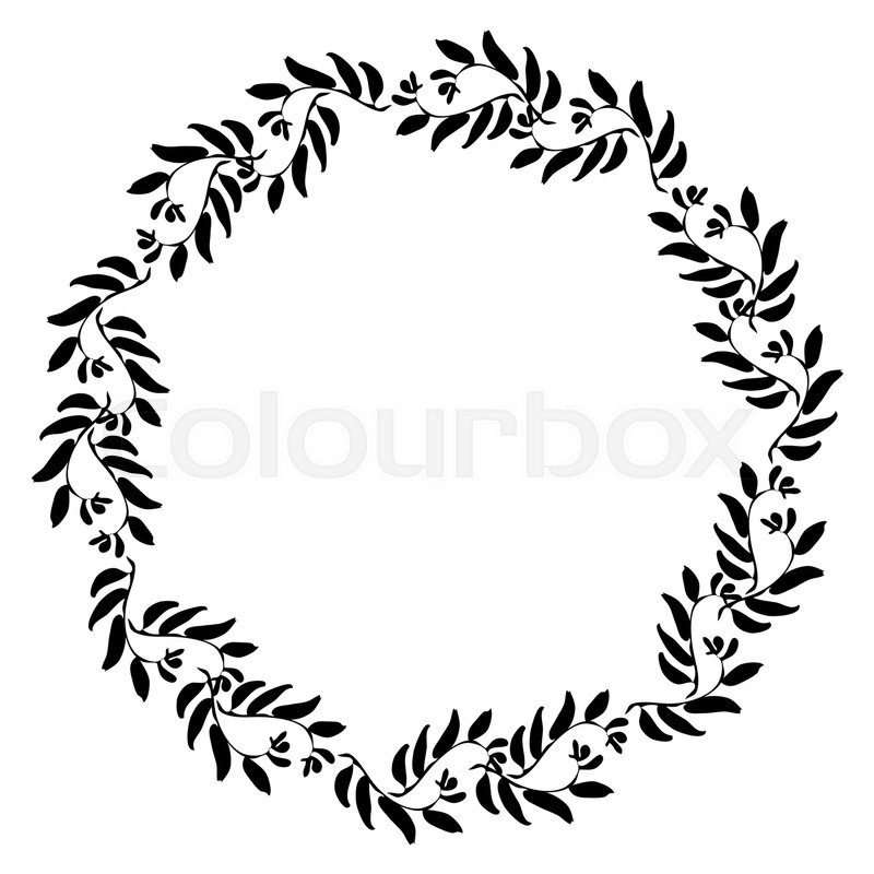 Floral Circle Frame For Greeting Card Invitation Wedding