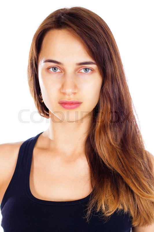 Stock image of 'Portrait of a brunette woman without makeup, isolated on white background'