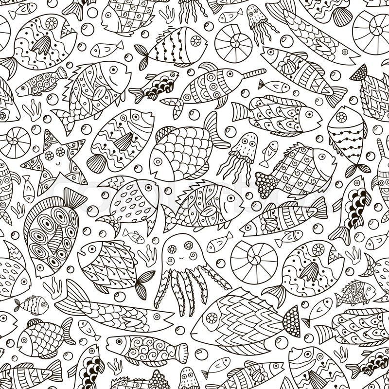 Fantasy Ocean Collection With Doodle Fish For Adult Coloring Book Black And White Sea Life Background In Line Art Style Vector Illustration