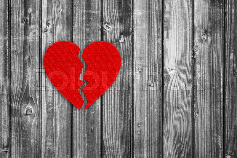 Broken Heart On Black And White Wooden Stock Image Colourbox
