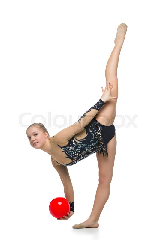 Stock image of 'Gymnast girl in beautiful costume making jumping exercise with red ball. Isolated over white background. Copy space.'
