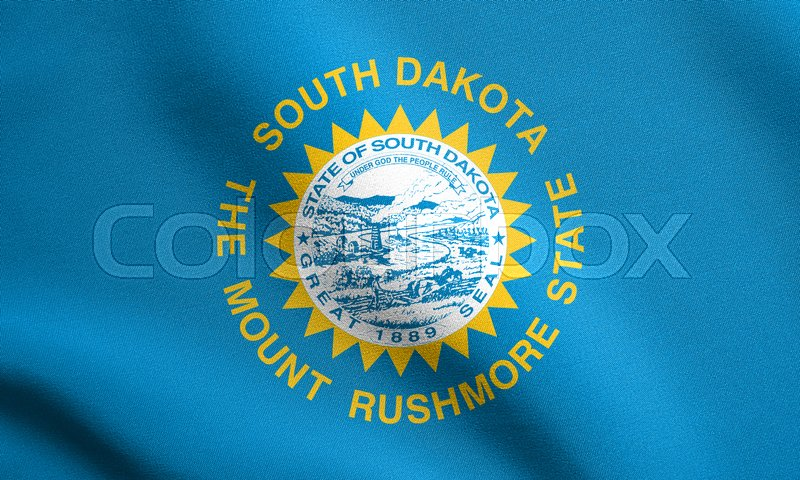 Stock image of 'South Dakotan official flag, symbol. American patriotic element. USA banner. United States of America background. Flag of the US state of South Dakota waving in the wind with detailed fabric texture'