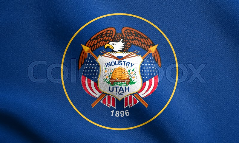 Stock image of 'Utahn official flag, symbol. American patriotic element. USA banner. United States of America background. Flag of the US state of Utah waving in the wind with detailed fabric texture'