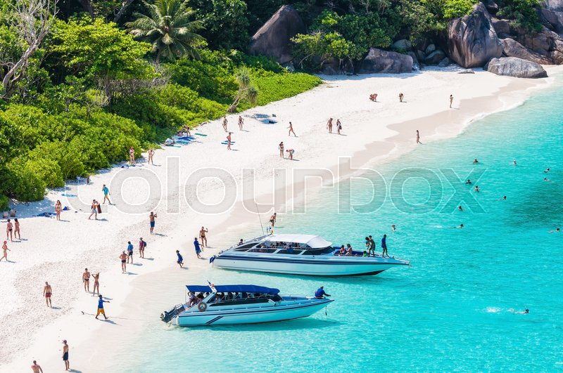 Editorial image of 'Tourist boats in a bay on Similan islands, Thailand'