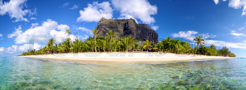 Stock image of 'Mauritius Island panorama with Le Morne Brabant mount'