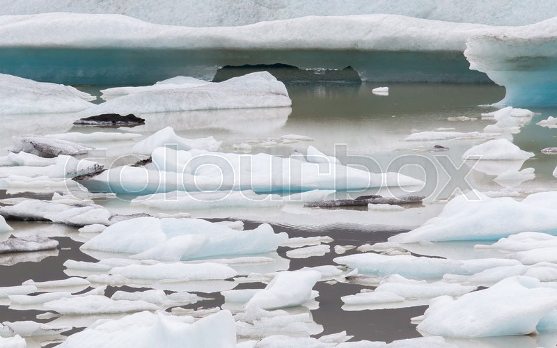 Editorial image of 'Jokulsarlon is a large glacial lake in southeast Iceland - Ice breaking of a glacier'