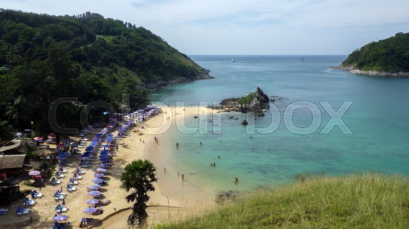 Stock image of 'a view of Yanui Beach and Koh Kaeo Noi on Phuket island, Andaman Sea in South of Thailand.'