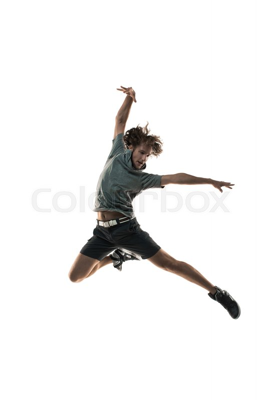 Stock image of 'Young man dancer dancing funky hip hop rnb on isolated studio white background. Full length silhouette.'