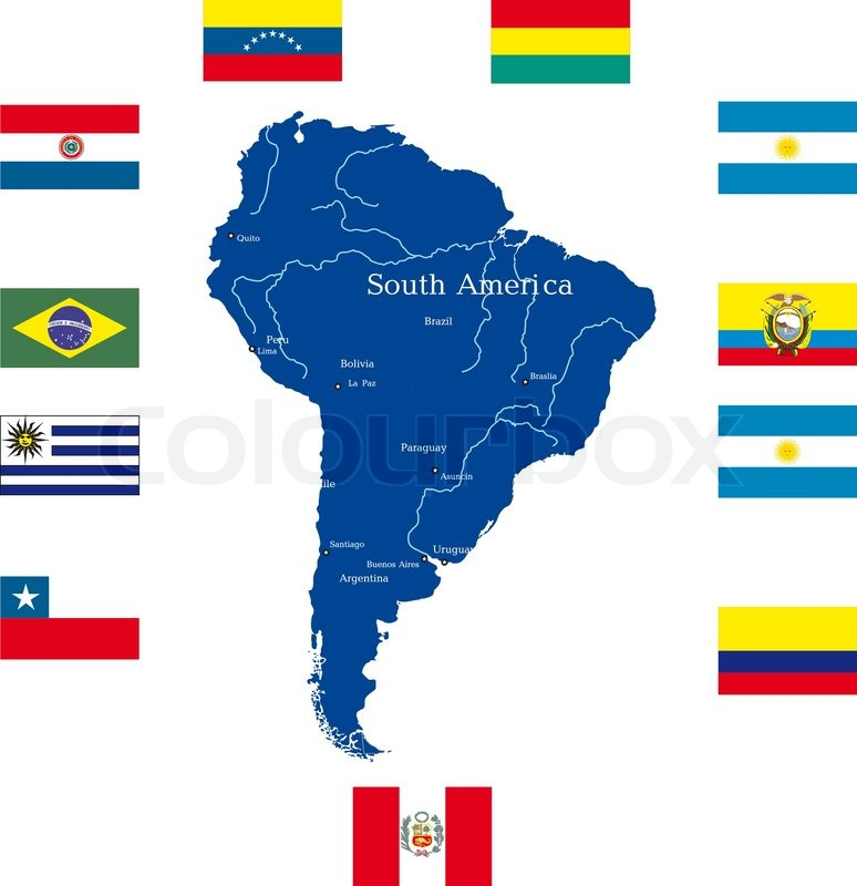 Abstract Kort Over Sydamerika Stock Vektor Colourbox