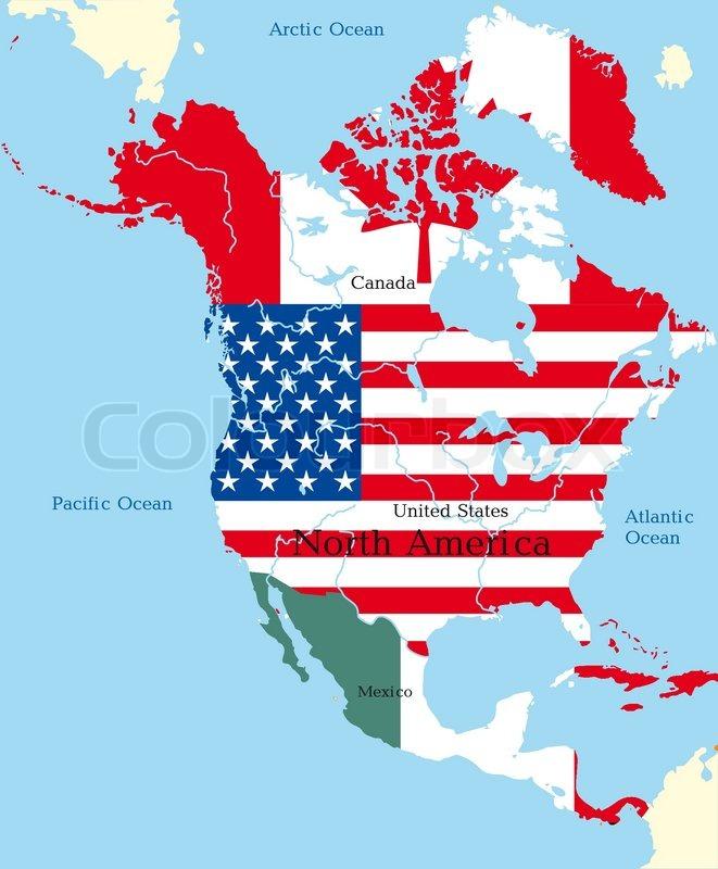 Karte Nordamerikas.Abstrakte Karte Von Nordamerika Von Stock Vektor Colourbox