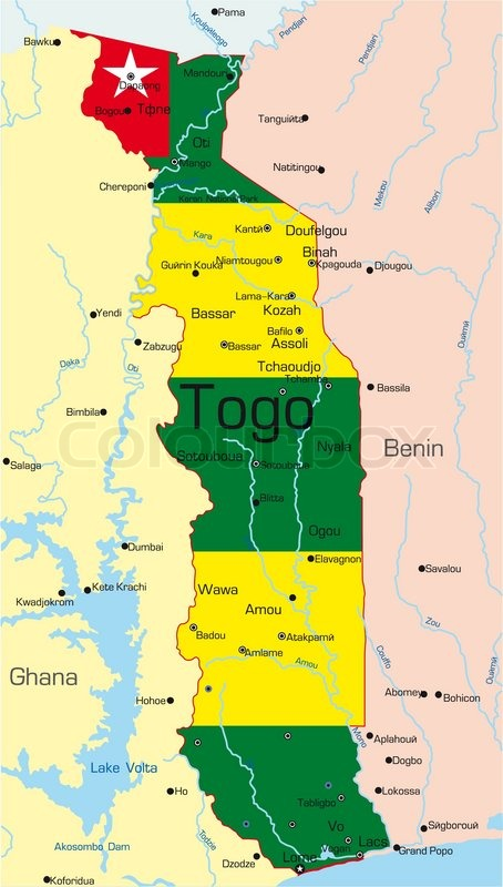 Abstract Vector Color Map Of Togo Country Colored By National Flag - Togo map