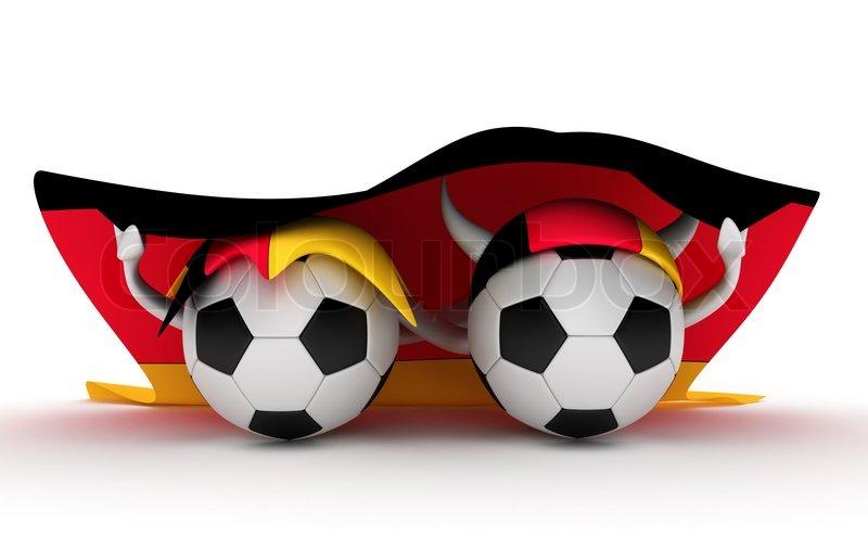 3d Cartoon Fussball Zeichen Mit Einer Stock Bild