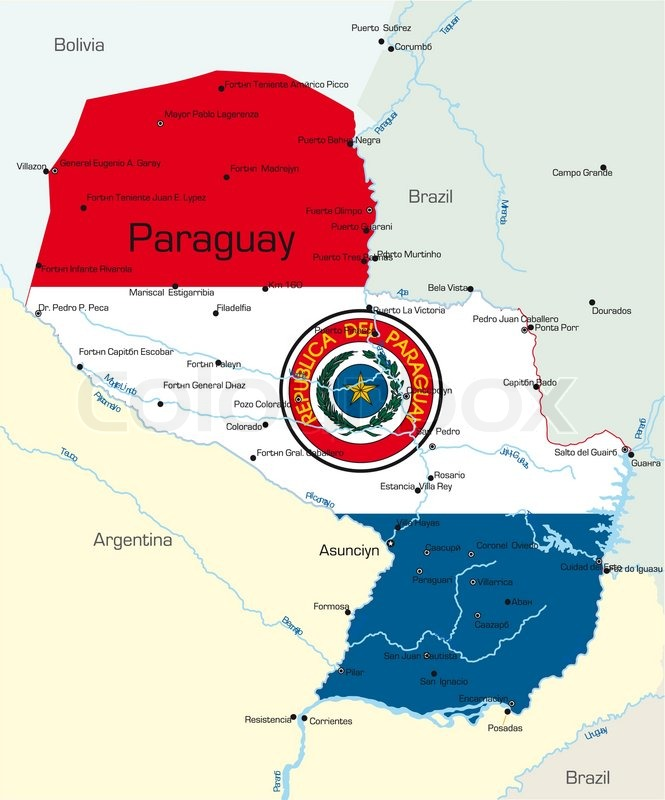 Abstract Vector Color Map Of Paraguay Country Colored By National - Map of paraguay