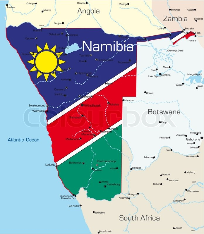 Abstract vector color map of namibia country colored by national abstract vector color map of namibia country colored by national flag stock vector colourbox gumiabroncs Images