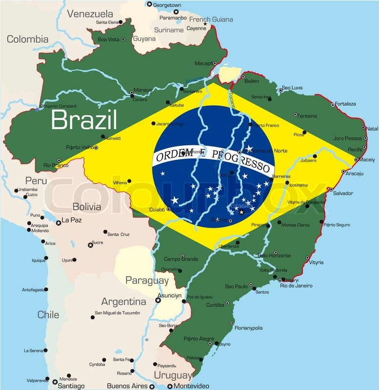 Buy Stock Photos Of Brazil Colourbox - Political map of brazil