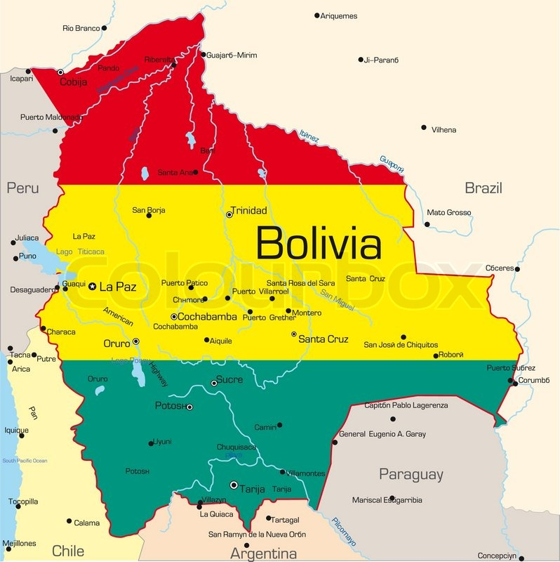 Map abstract vector color map of bolivia country colored by