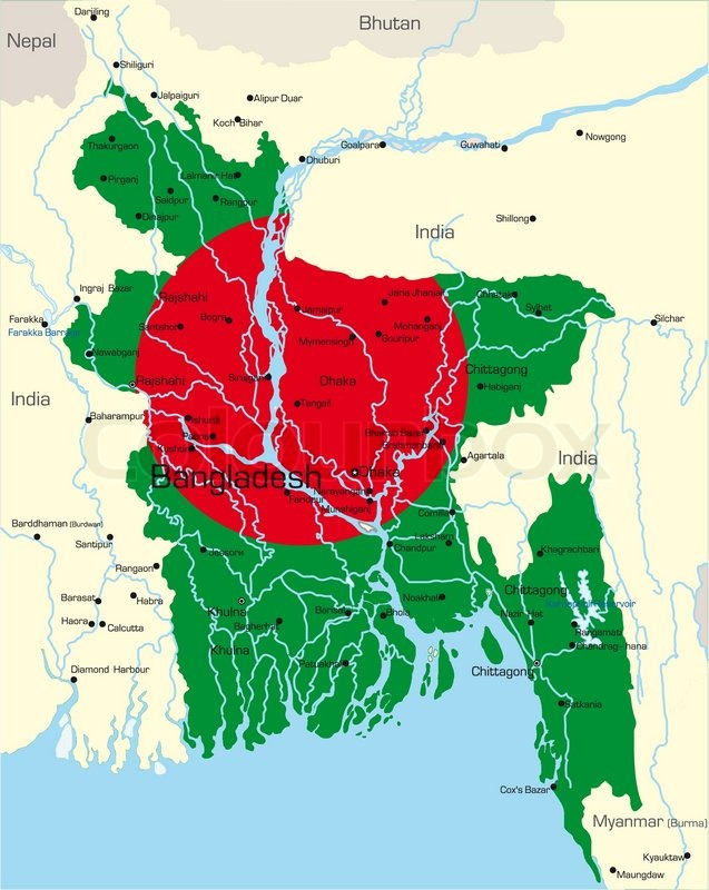 Vector Map Of Bangladesh Country Colored By National Flag Vector
