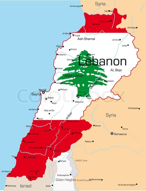 Abstract vector color map of Lebanon country colored by national