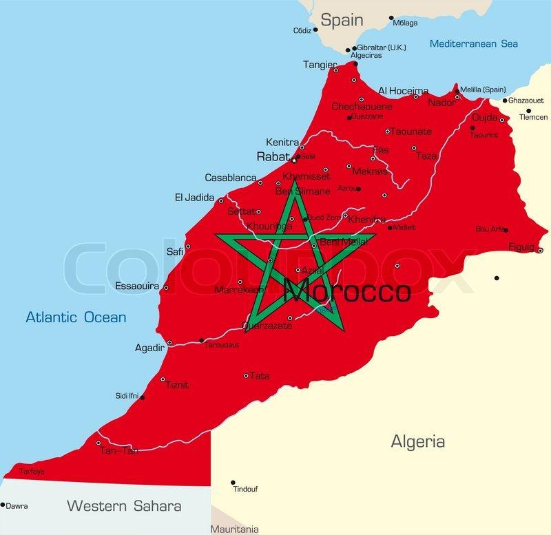 Abstract Vector Color Map Of Morocco Stock Vector Colourbox