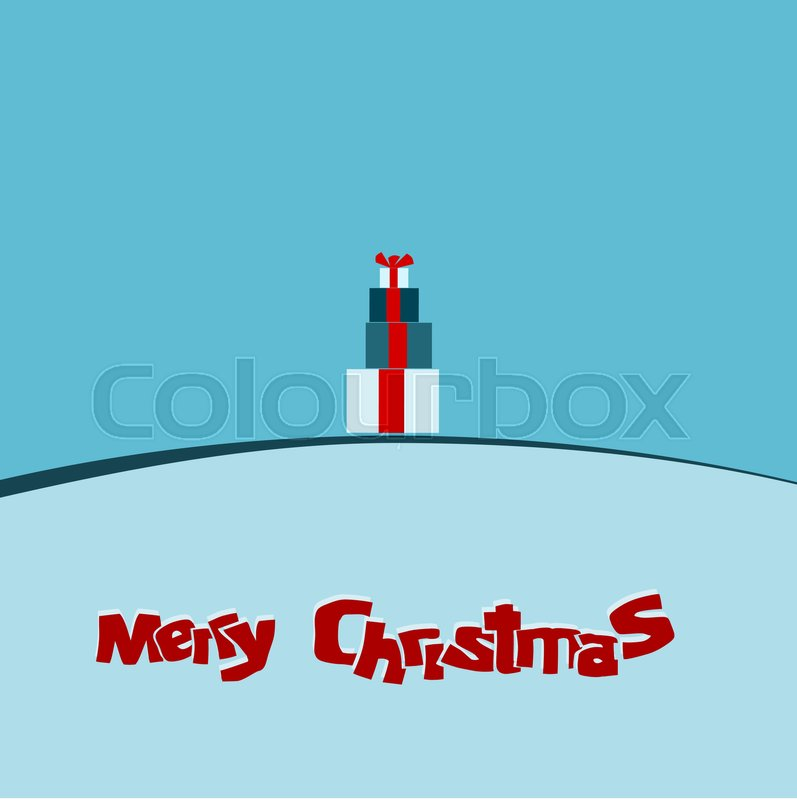 Modern Christmas card background with stacked gift boxes in ice blue ...