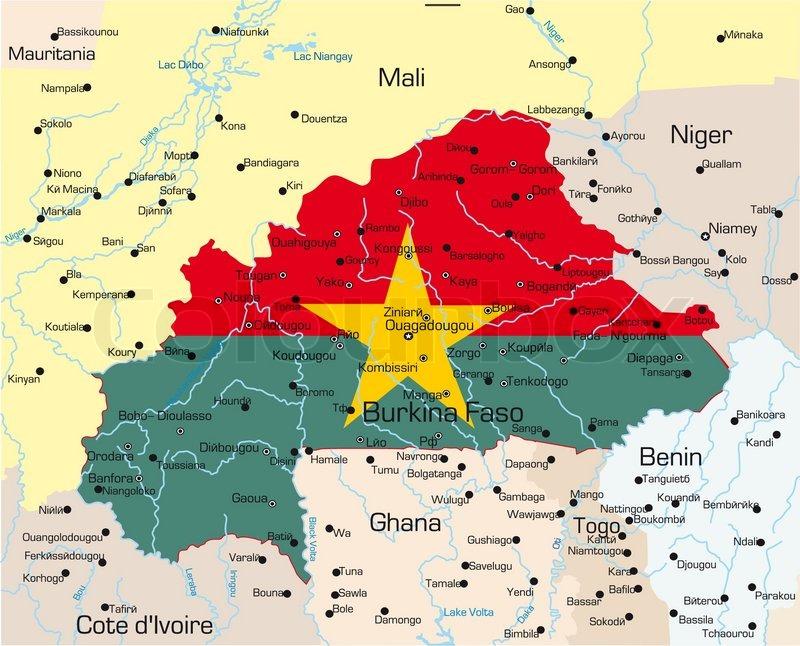 Abstract Vector Color Map Of Burkina Stock Vector Colourbox