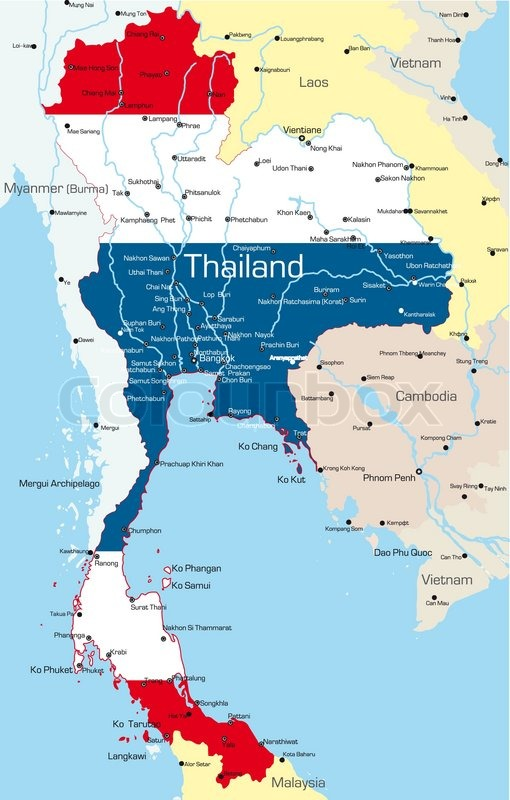 Vector Map Of Thailand Country Colored By National Flag Vector