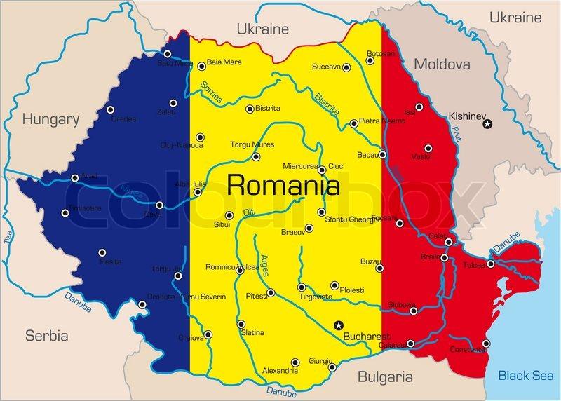 Abstract Vector Color Map Of Romania Country Coloured By