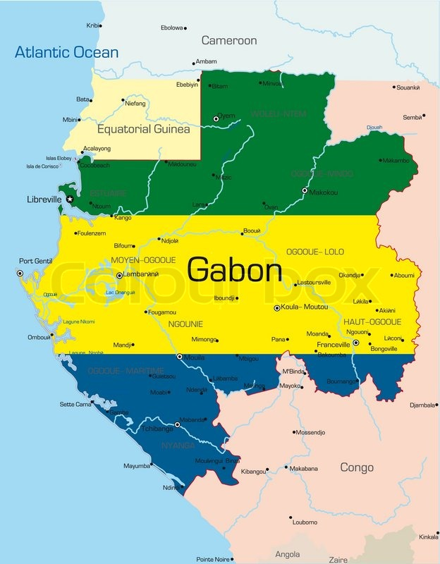 Abstract Vector Color Map Of Gabon Country Colored By National - Where is gabon on the world map