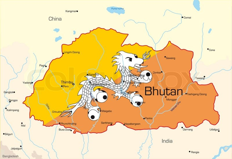 Image result for bhutan  map and flag