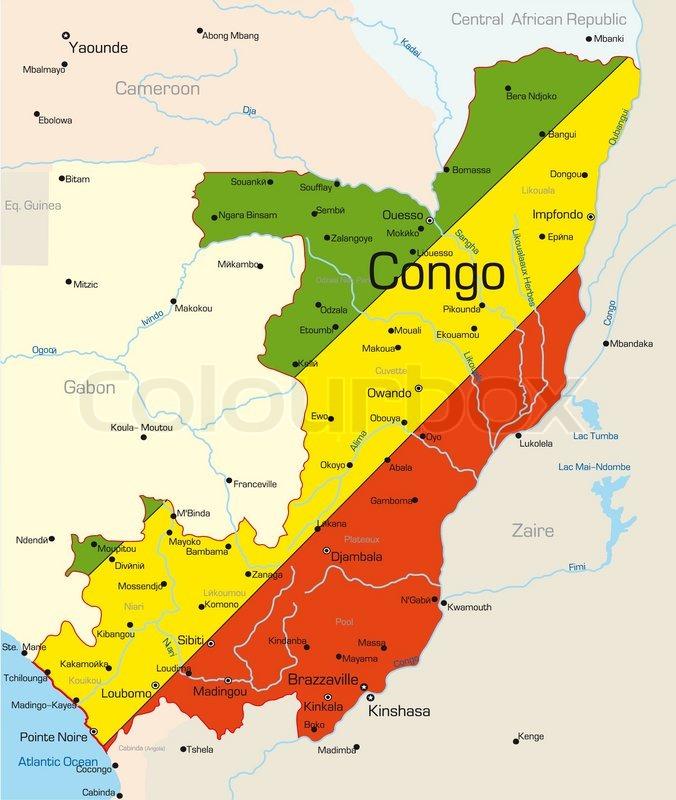 Abstract Vektor Farve Kort Over Congo Land Farvet Af