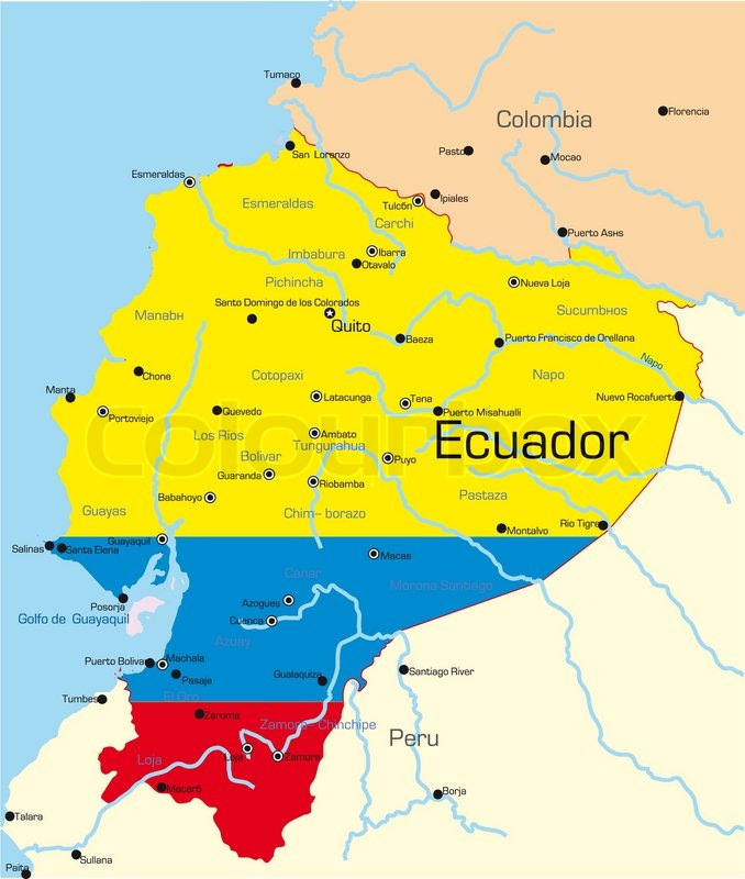Abstract vector color map of Ecuador country colored by national ...