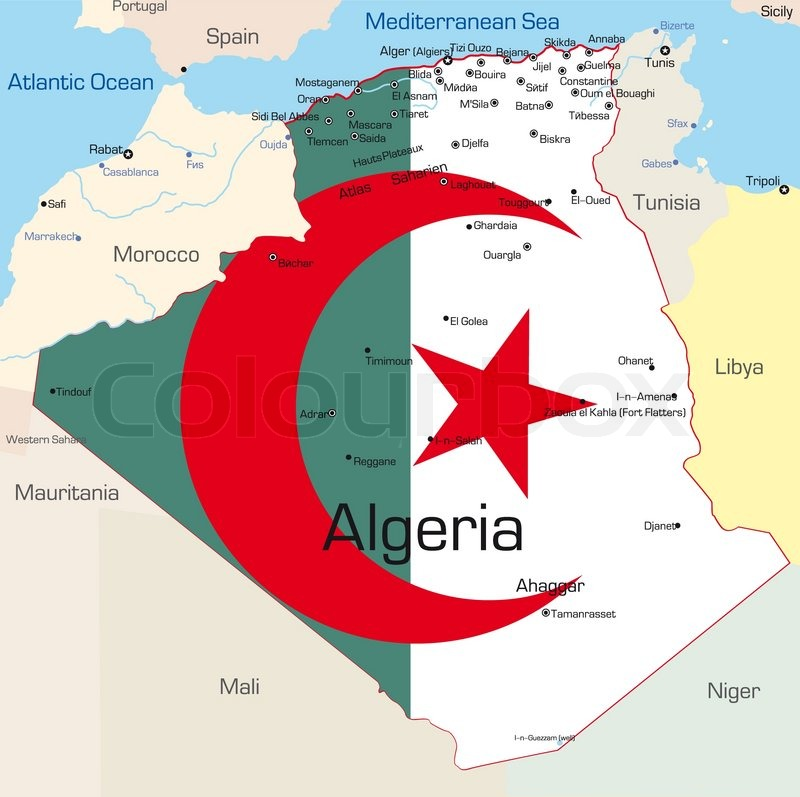 Abstract vector color map of Algeria country colored by national