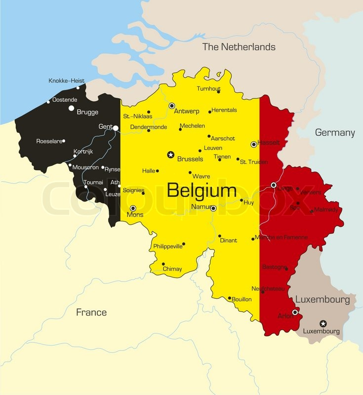 Abstract vector color map of Belgium country coloured by ...