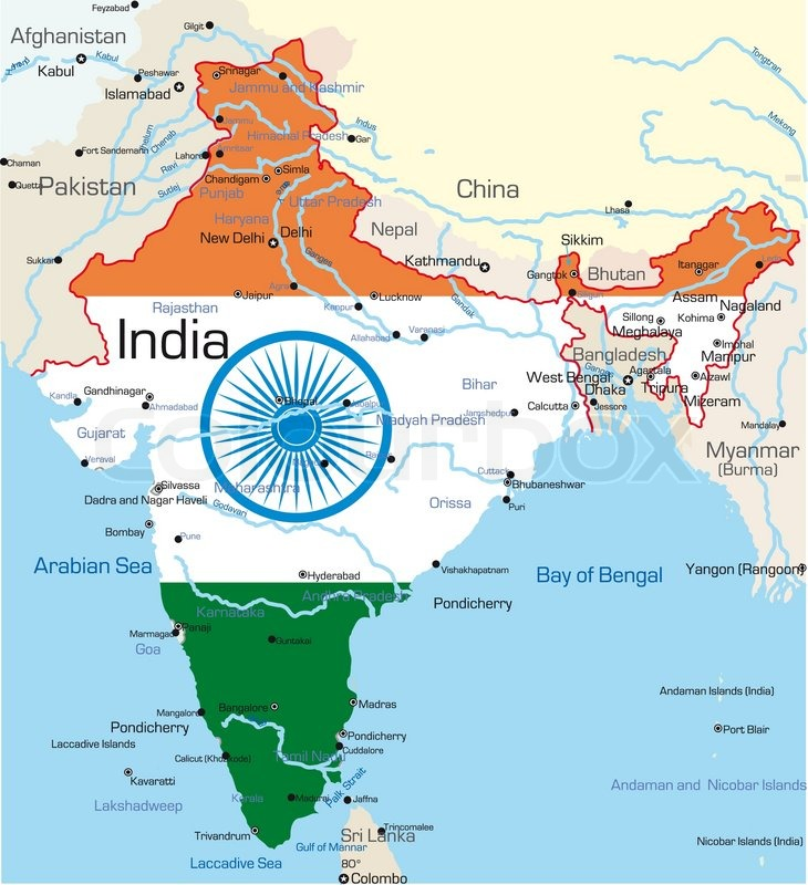 Vector map of India country colored by national flag, vector | Stock ...