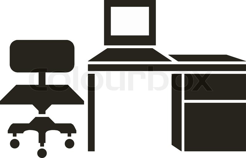 black and white office furniture.  furniture abstract vector illustration of office furniture  stock vector colourbox inside black and white office furniture l