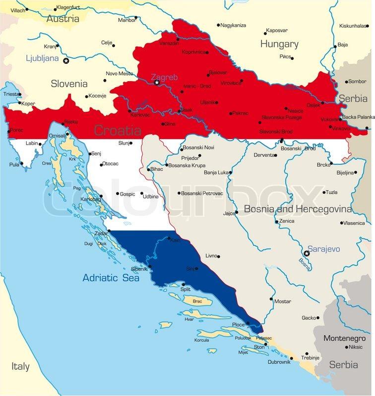 Abstract Vector Color Map Of Croatia Stock Vector Colourbox