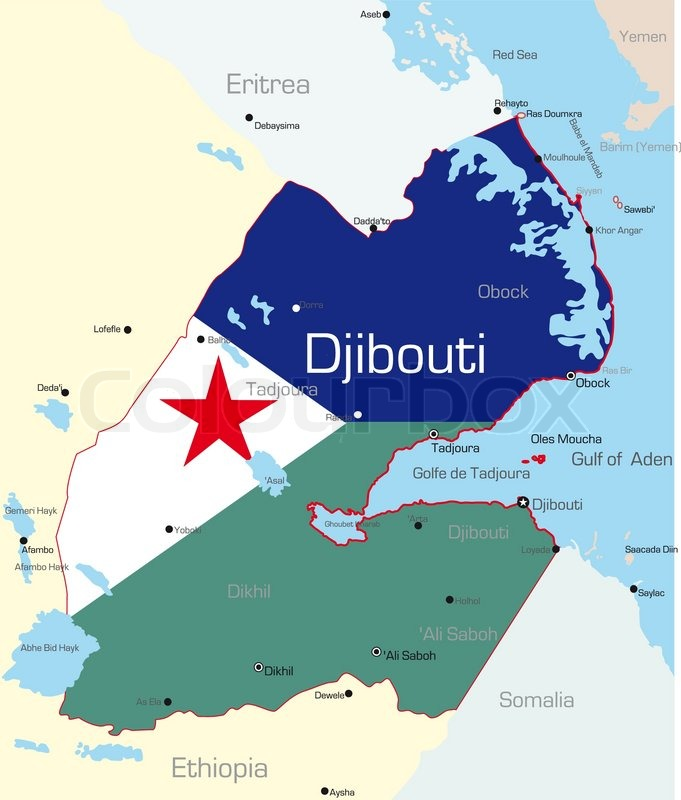 Abstract Vector Color Map Of Ethiopia Country Colored By National - Djibouti maps with countries