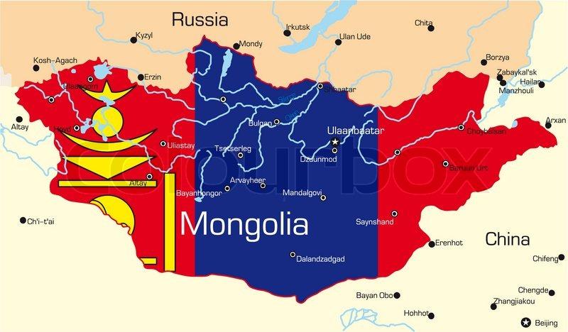 Vector Kort Over Mongoliet Land Farvet Stock Vektor Colourbox